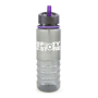 800ml Smoke coloured sports bottle with purple straw and trim