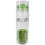 transparent trinity infuser bottle with green sip lid and infuser