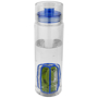 transparent trinity infuser bottle with blue lid and infuser