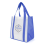 White shopper bag with blue side gussets and handles branded with company logo printed on one side