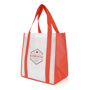 Large shopper in white with red handles and gusset personalised with a company logo printed on the front