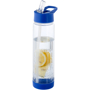 Fruit infuser clear water bottle, blue base and lid and built in straw