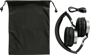 Twist Wireless Headphones in black and silver with black pouch and wire