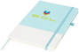 A5 two tone notebook in light blue and white with stitching detail and light blue ribbon, elastic closure strap and pen loop with 3 colour white print logo