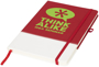 A5 two tone notebook in red and white with stitching detail and red ribbon, elastic closure strap and pen loop with 1 colour white print logo