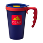 Large reusable travel coffee mug in navy with red handle