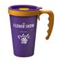Purple travel mug with yellow handle and logo printed on the side