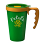 Promotional reusable coffee mug in green with yellow handle