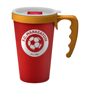 Red double walled reusable take out mug for promotional merchandise