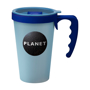Large reusable on the go coffee cup in blue with navy handle and lid trim