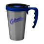 Silver travel mug branded with a company logo
