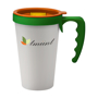 White reusable travel mug with hand and lid trim colour options to promote a company