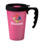 Pink travel coffee mug with black lid trim and matching handle