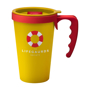 Travel coffee mug in yellow with red handle