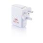 USB Port Travel Plug UK in white with 1 colour print logo