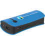 Blue power bank with a printed logo and black trim on the side