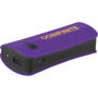 Purple and black promotional power bank to advertise a company