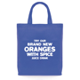 Blue shopping tote bag with short handles, made from non woven material