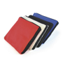 Zip storage pouches for tote shopper bags in red, white, black and blue