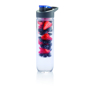 water bottle with fruit infuser and blue sip lid