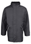Waterproof professional Jacket in black with full length zip, 2 pockets and fleece lined