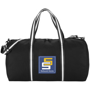 Weekender Duffel Bag in black with black and white straps and 3 colour logo