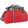 Weekender Duffel Bag in red with navy and white straps showing storage