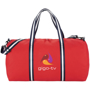 Weekender Duffel Bag in red with navy and white straps with full colour print logo