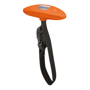 orange weight scale with black strap