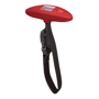 red weight scale with black strap