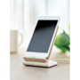 Wheat Straw Wireless Charging Stand in beige with phone on it