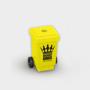 Wheelie Bin Pencil Sharpener in yellow with 1 colour print logo