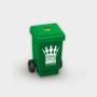 Wheelie Bin Pencil Sharpener in green with 1 colour print logo