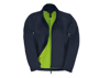Womens ID 701 Softshell Jacket in navy with full front zip and green inner fleece