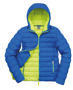Women's Snow Bird Hooded Jacket in blue with lime green lining