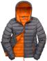 Women's Snow Bird Hooded Jacket in grey with orange lining