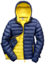 Women's Snow Bird Hooded Jacket in navy with yellow lining