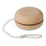 side angle view of the wooden yo yo and string
