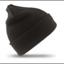 Woolly Ski Hat in black with double thickness