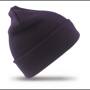 Woolly Ski Hat in grey with double thickness in navy