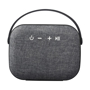 black bluetooth mini speaker with a woven fabric front speaker front view