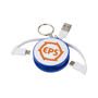 Wrap Around 3-in-1 Charging Cable with Keyring in blue and white with 1 colour print