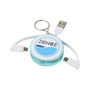 Wrap Around 3-in-1 Charging Cable with Keyring in mint and white with 3 colour print