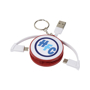 Wrap Around 3-in-1 Charging Cable with Keyring in red and white with 3 colour print