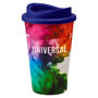 Full colour tumbler with purple lid