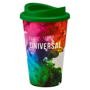 Coffee tumbler with full colour branding and green sip lid