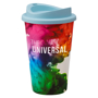 Reusable coffee cup with light blue lid