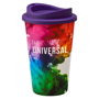 Double walled reusable travel mug with purple lid