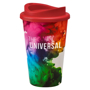 Travel mug with red lid, personalised with a full colour wrap