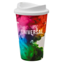 Double walled travel mug with white lid, printed full colour